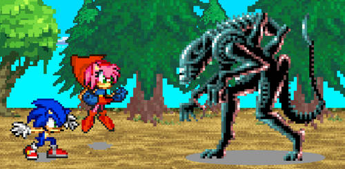 PowerRose and Sonic vs Xenomorph by BeeWinter55