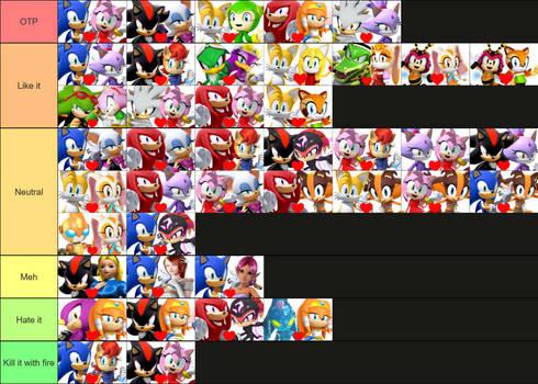 Sonic pairings tier list