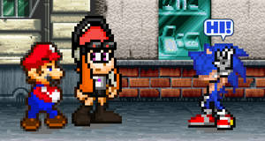 Mario and Meggy meeting Sonic