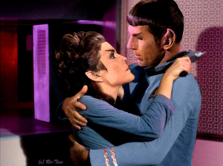 Saavik and Spock in TOS show uniforms: Forgive me by Ro-tine