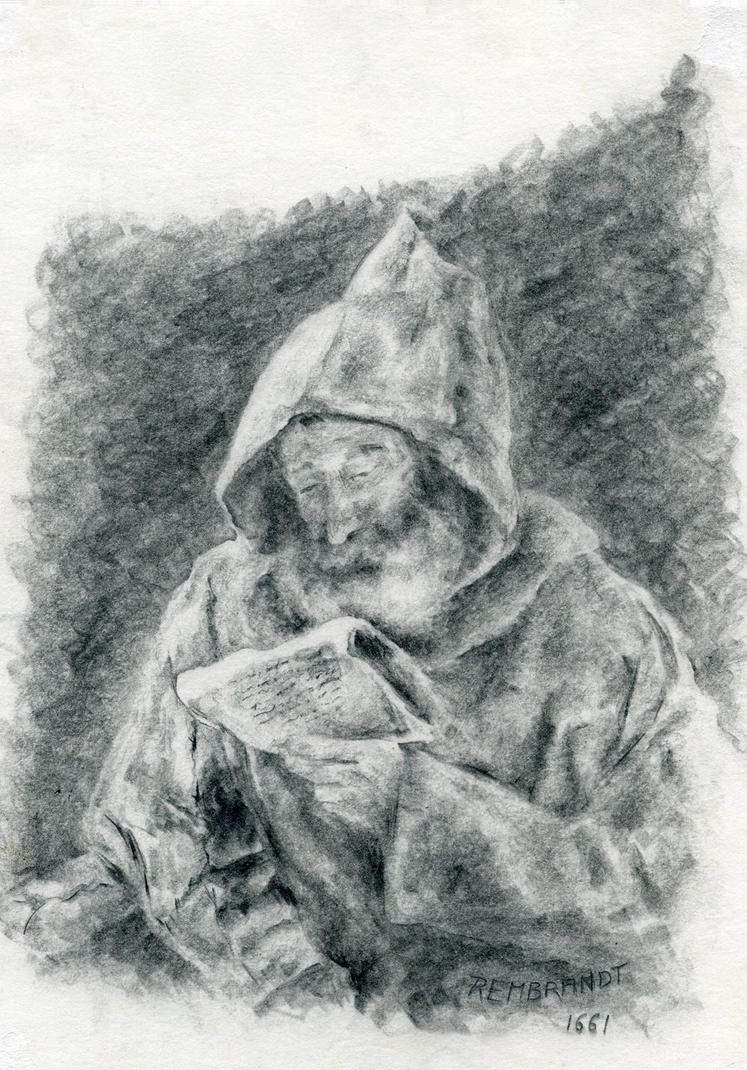 Rembrandt Reading Monk by coiplet