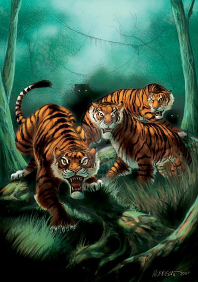 Ambush of tigers by SMorrisonArt