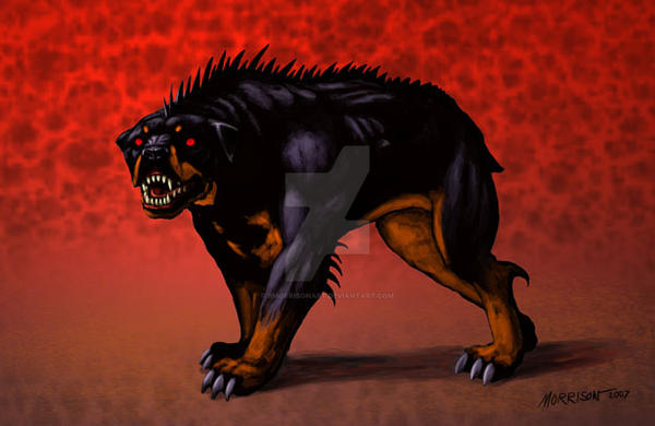Demon Rottweiler by SMorrisonArt