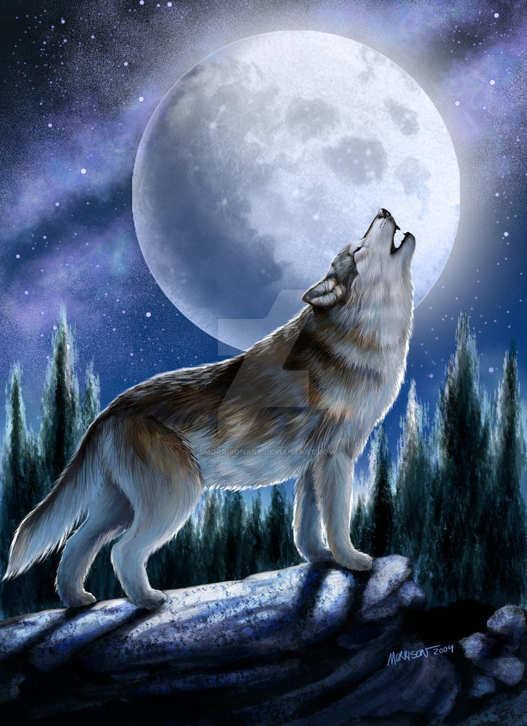 This is an image of Nerdy Drawing Of A Wolf Howling At The Moon