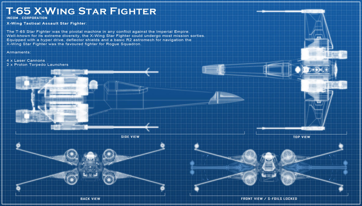 X wing blue print by chaoshour on deviantart x wing blue print by chaoshour malvernweather Images