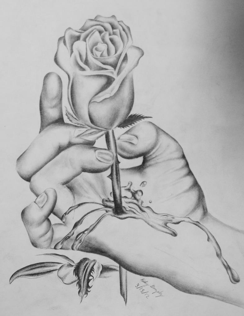 Bleeding Rose In Hand Drawing