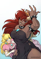 Bowsette and Peach by chalcara