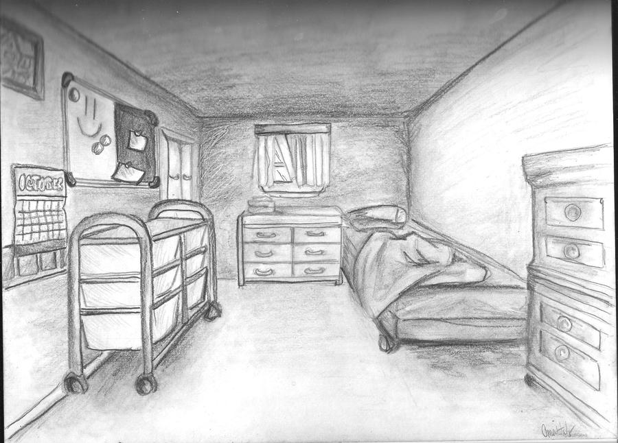 Bedroom-one point perspective by kakarot12 on DeviantArt