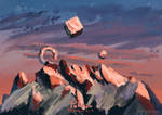 quick sunset study but with a mountain
