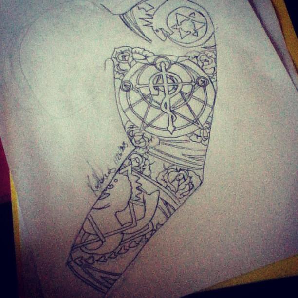 full metal alchemist tattoo sleeve design by kayleezombee on deviantart. Black Bedroom Furniture Sets. Home Design Ideas
