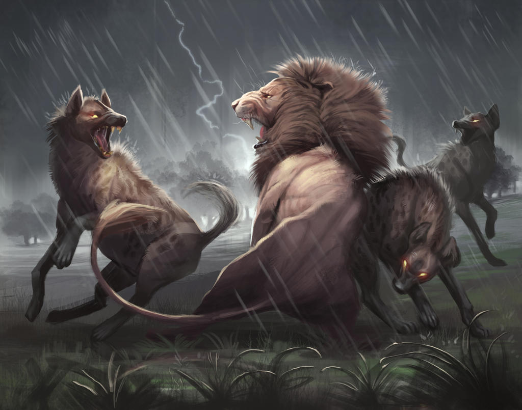 Line Art Vs Painting : Lion vs hyena painting by tehchan on deviantart
