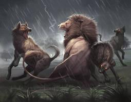 Lion vs Hyena Painting