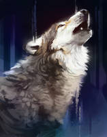 Wolf Speed Painting by TehChan