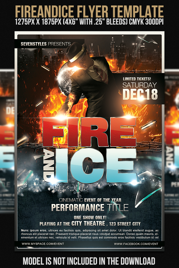 fire and ice free flyer template by 7styles on deviantart