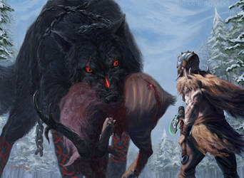 Garruk vs. Fenrir - Magic: the Gathering Fan Art