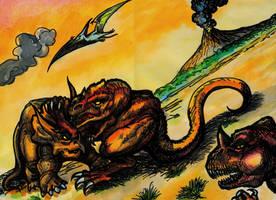 'Prehistoric Battle' by TADASHI-STATION