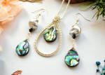 Wire Wrapped Abalone Jewellery Set