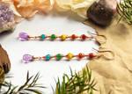 Wire Wrapped Rainbow Dangle Earrings