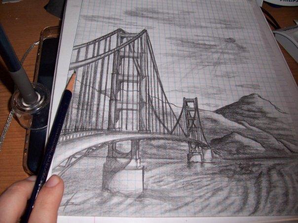 how to draw a suspension bridge