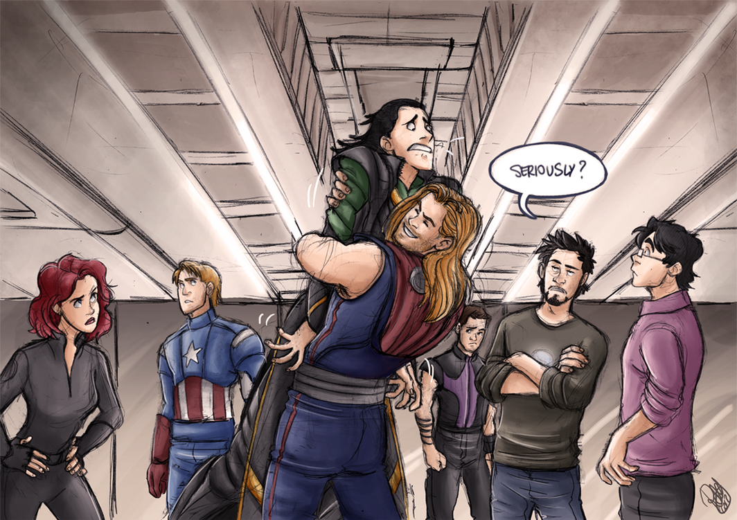 The Avengers - The Brothers' Hug by Renny08