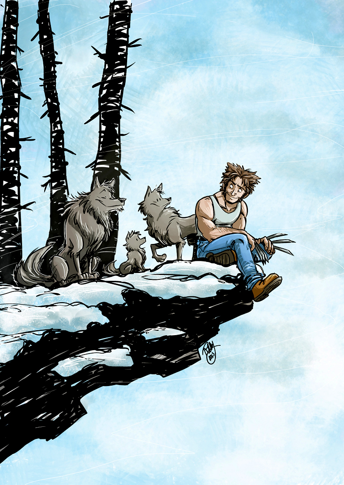 Some Wolves and A Wolverine by Renny08
