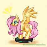 Fluttershy riding the robot vacuum cleaner