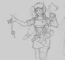 Imperial Guardswoman01 - Sketch by Sebbythefreak