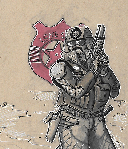 Sketch-a-day 003 Lone Star patrol by Sebbythefreak