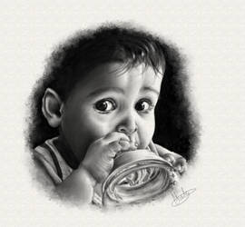 Baby and the bottle by SabinasArts