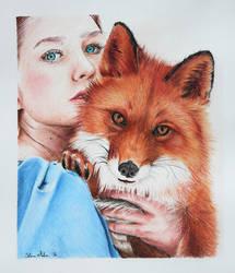 The girl and the fox by SabinasArts