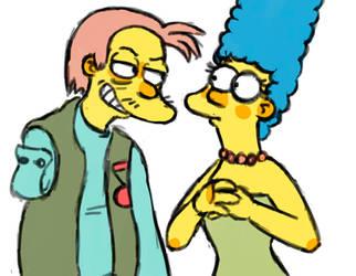 Herman Hermann and Marge Simpson by Garrett-Strangelove