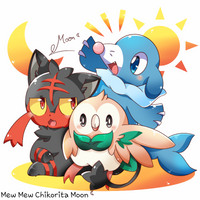 Rowlet, Litten and Popplio by ChikoritaMoon
