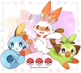 Scorbunny, Sobble and Grookey by ChikoritaMoon