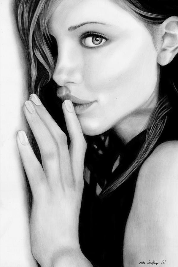 Kate Beckinsale Pencil Drawing by theGaffney