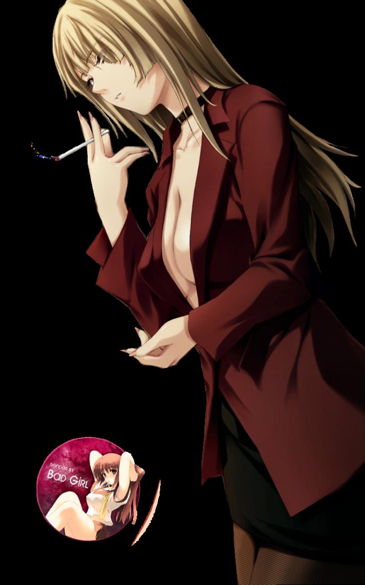 Manga girl smoking