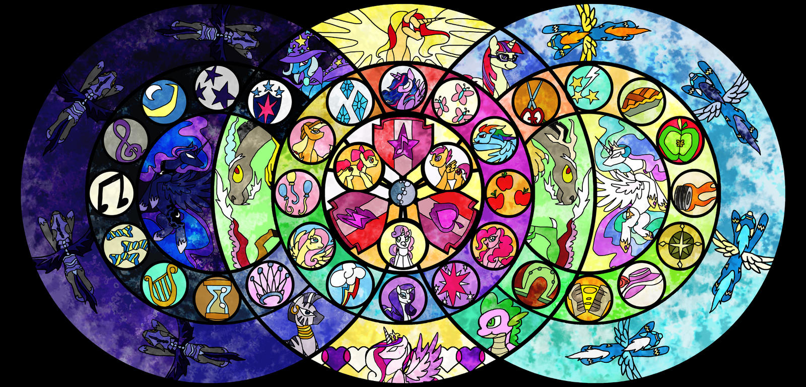 Stained Glass Cutie Mark Crusaders with Mane Cast by Angel-Pup