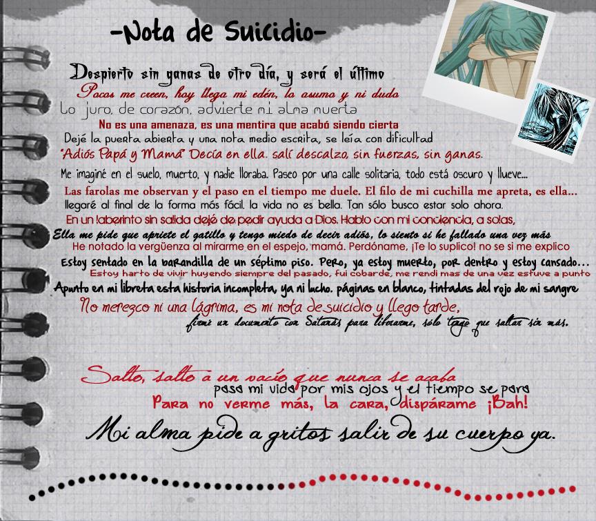 Nota de suicidio -Porta- by RanmaGirlSaotome