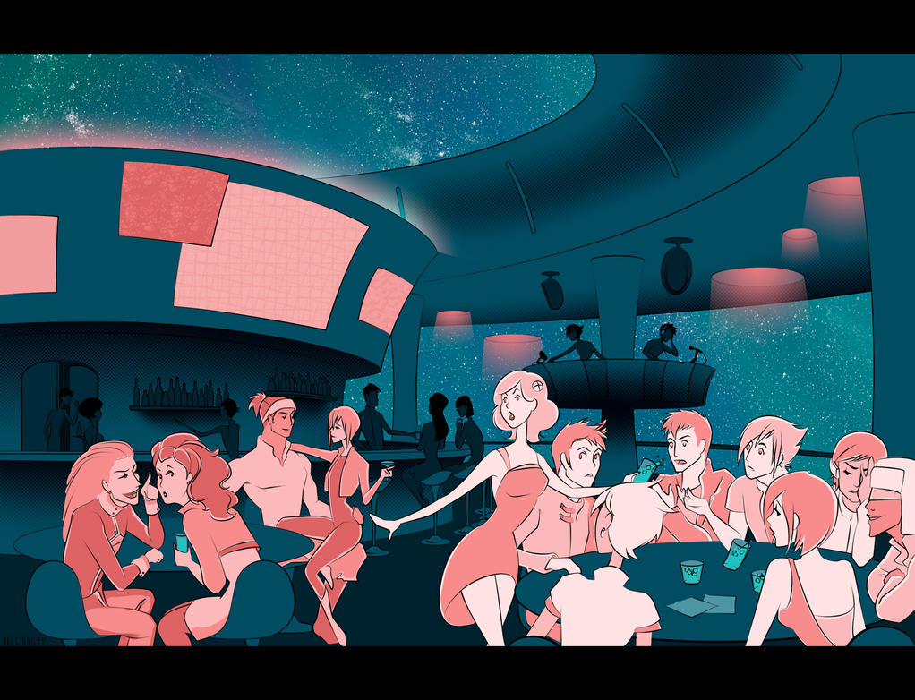 Party at Moon Base 3 by nella-nell