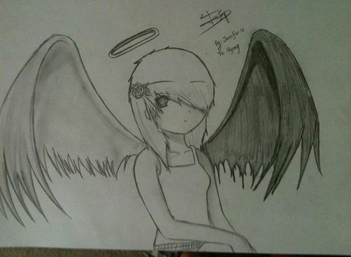 Anime Girl Fallen Angel By JenSeob