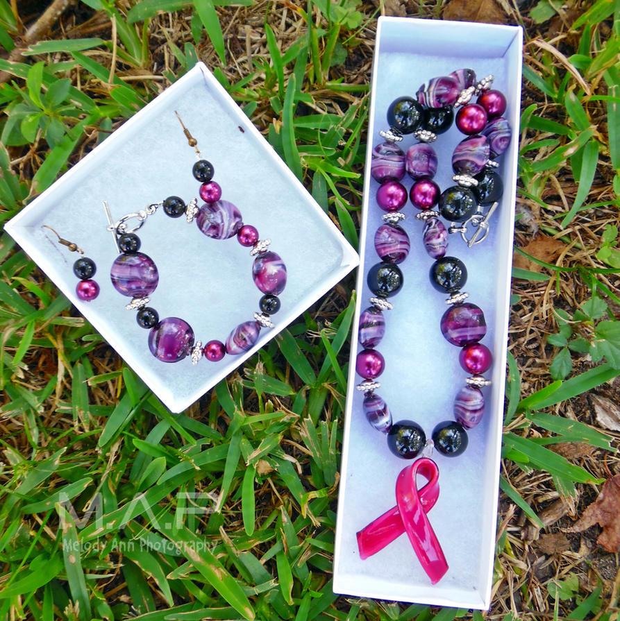 Breast Cancer Ribbon Necklace/Bracelet/Earrings by MelodyAnderson