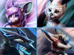 furry commission pile 2 - realistic headshots