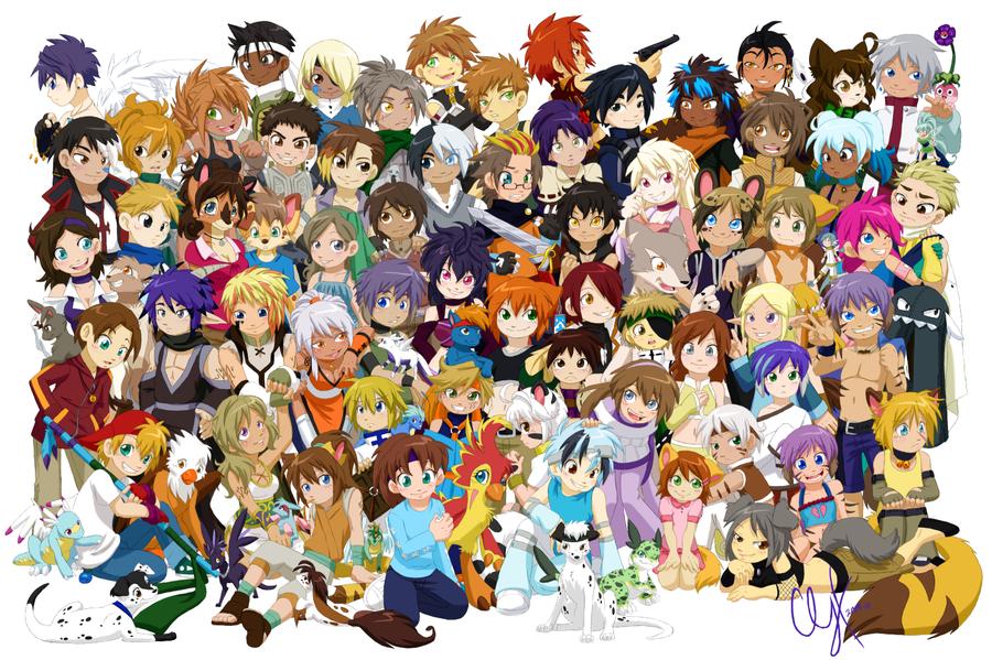 Anime friends group chibi