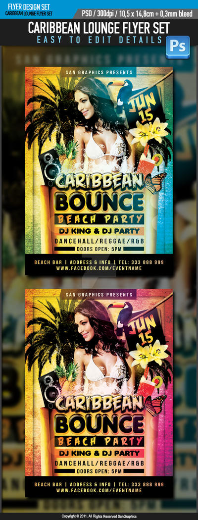 Caribbean Bounce Beach Party Flyer by SanGraphics on ...