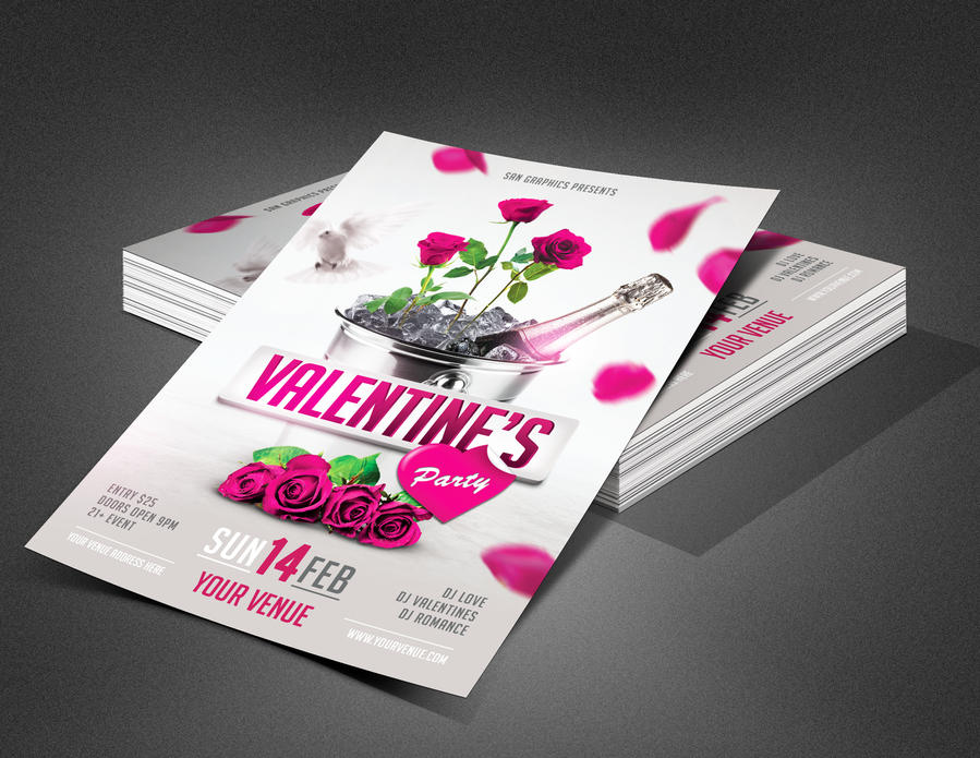 Valentine's Day Party Flyer Template by SanGraphics