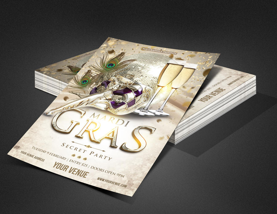 Mardi Gras Carnival Party Flyer Template by SanGraphics