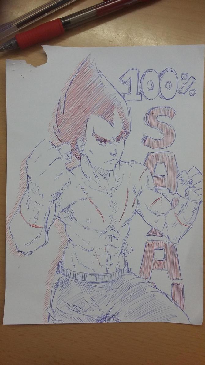 Vegeta sketch 6-04-17 by nenee