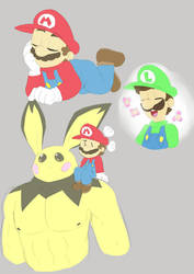 Mario, Luigi, and Buff Pichu by Alomaire
