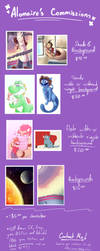 Commissions Sheet by Alomaire