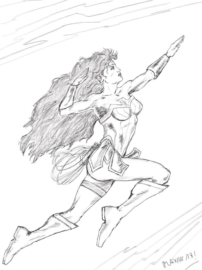 Wonder Woman flying sketch by maxpa27