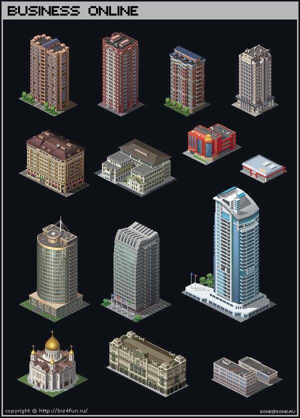 Isometric Buildings by iSohei